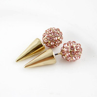 Wholesale Pink Spikes Studs - Fashionable Latest Full Pink Clear Color Rhinestones Spike Ball Gold Silver Alloy Stud Earrings