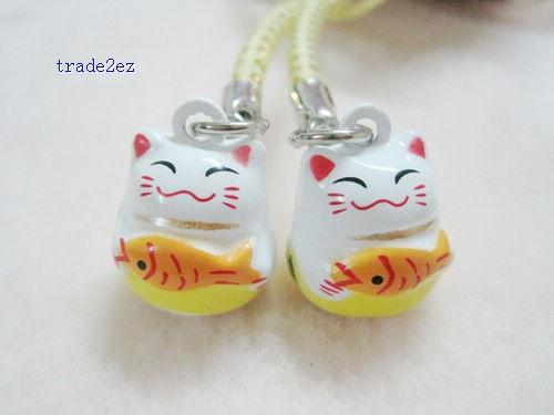 100pcs Fashion Popular White Maneki Neko Bell Boy Girl Cell Phone Strap Mobile Strap Gift Free Shipping