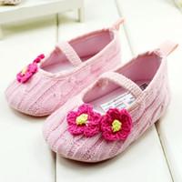 zapatos de 24m al por mayor-Zapatos de color rosa lindo Princesa Baby's Girl First Walker Zapatos infantiles de algodón 0-24M Zapatos 11-12-13 6 par / lote GX259