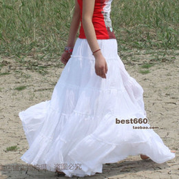 Wholesale Long Black Dance Skirts - Summer Elegant white pleated 5 tiers stitching Cotton Casual Comfortable Spanish Dancing White maxi Long skirts for Women