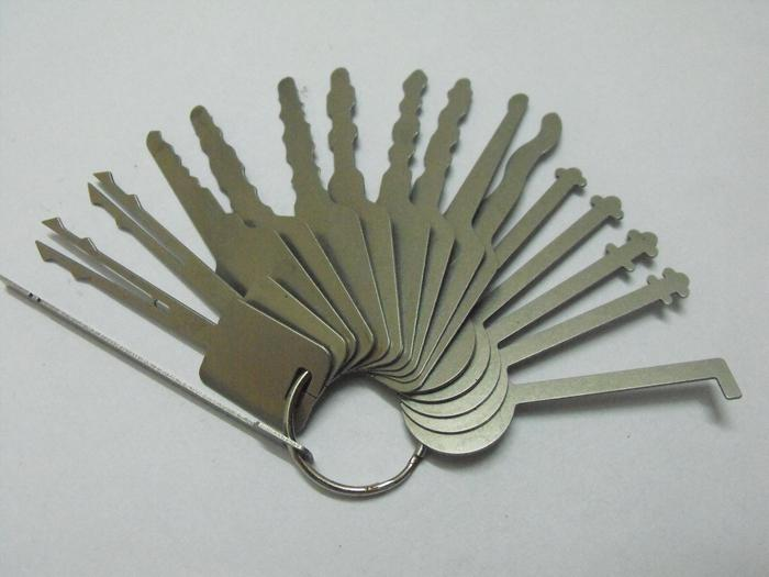 Free shipping 16pcs/set keys Locksmith Tools lock pick Jigglers for Double Sided Lock,Auto Jigglers for car opening