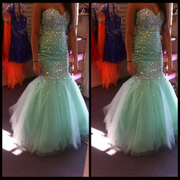 Wholesale Strapless Mint Green Dress - Gorgeous Mint Homecoming Dresses Ruched Strapless Tulle Sweetheart 2014 Graduation Long Dresses With Crystals