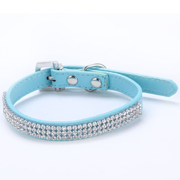 Wholesale Dog Collar Leather Harness - Puppy Cat Pet 3 Rows Rhinestone Crystal Collar Dogs Buckle Neck Strap Leather LX0161 Free&Drop Shipping