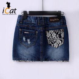 Wholesale Jean Skirt Lace - Beaded Lace Trim Women Denim Jean Mini Skirt Plus Size #3720