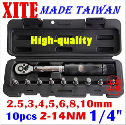 """Wholesale Spanner Wrench Repair - Taiwan XITE 1 4""""DR 2-14Nm 10 piece torque wrench Bicycle wrench bycicle bike tools kit set tool bike repair spanner original wholesale free"""