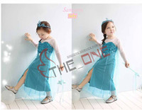 Wholesale Order Tutu - pre-order Costume Fantasia frozen princess party dress frozen long sleeve dress bling pompon gause lace dress long sleeve lace a-line dress