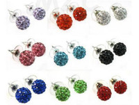 Wholesale Disco Ball Crystal Beads White - 30 Pairs lot 10mm hotsale Free Shipping Rhinestone Mix multicolor white New disco Ball beads clay Shamballal Crystal Earrings earring