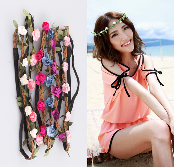 Romantik El Yapımı Gül Çiçek Yapraklar Saç Bandı Çiçek Bandı Taç Hippy Boho Düğün Tiaras Deri Headbands plaj charm saç takı