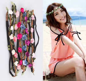 Wholesale Newest Handmade Rose Floral Leaves Hair Band Flower Headband Crown Hippy Boho bridesmaid Tiaras Leather Headbands beach charm hair jewelry