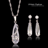 Wholesale Clear Stone Necklace Sets - Trendy Clear Stone Sets Jewelry Woman White Gold Plated