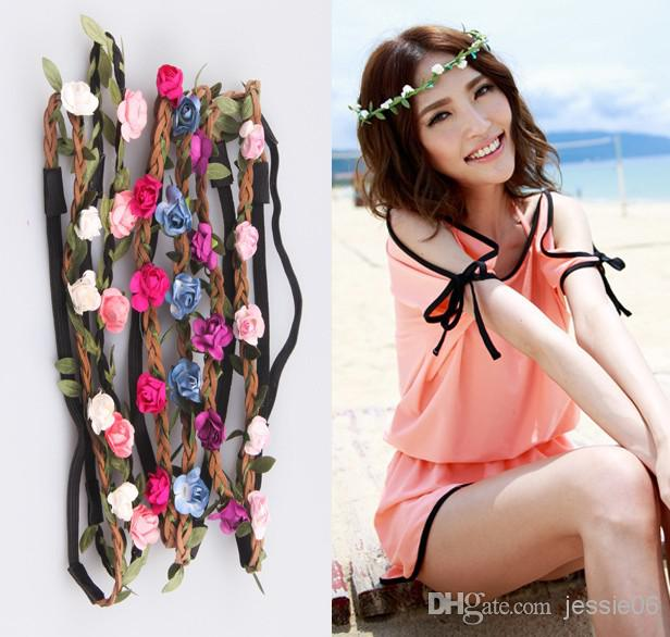 2018 Women Handmade Rose Floral Leaves Hair Band Flower