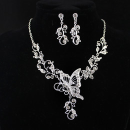 Wholesale Leaf Necklace Pendants - Wedding Jewelry Graceful Silver Color Alloy White Rhinestone Butterfly Leaf Pendant Necklace and Dangle Earrings Sets