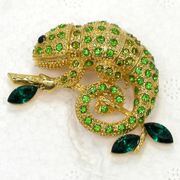 Wholesale Reptile Jewelry - Wholesale Animal Jewelry gift Brooch Rhinestone Marquise Chameleon Reptile Pin brooches C101658