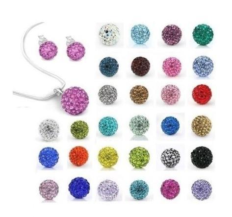 10Pcs/lot 10mm crystal clay hotsale disco bead Rhinestone Set necklace studs earrings drop jewelry set hot sale