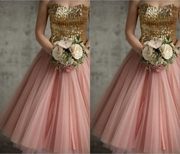 Robe Or Rose Pas Cher-Robes de soirée 2014 Sweetheart Backless Gold Sequins Rose Tulle Ankle-Length Vintage A-line Prom / Homecoming / Robes de demoiselle d'honneur