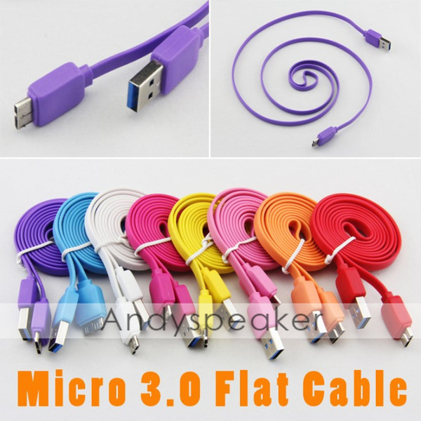 Flat Cable Micro 3.0 to Note 3 Noodle Charging Data Sync Cable Cord Colorful for Samsung Galaxy S5 i9600 for Note 3 N9000