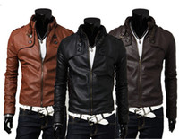 Wholesale long sleeve leather - Mens Jackets Fashion Mens PU Leather and Warm Coats with Zipper Hot Male Long Sleeve and Slim Jackets