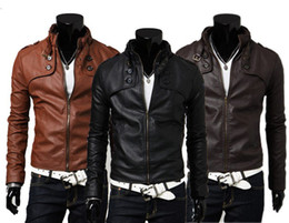 Wholesale Leather Jackets Xl - Mens Jackets Fashion Mens PU Leather and Warm Coats with Zipper Hot Male Long Sleeve and Slim Jackets