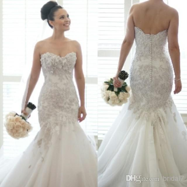 Bling Tulle Mermaid Wedding Dresses Sweetheart Backless Dropped ...