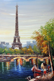 Wholesale Paris Oil Paintings - Free Shipping ,Lots Wholesale ,Handcraft art oil painting on canvas:Eiffel Tower Paris River Seine Boats-R012,Any Customized Size Accepted