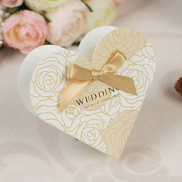 Wholesale Favor Bows - New Heart Candy Box with Gold Bow Wedding Bridal Favor Gift Boxes 100 pcs