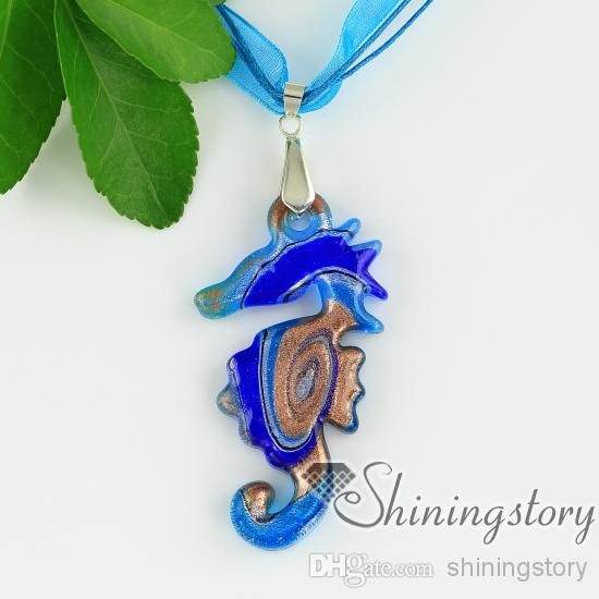 Seahorse lampwork vidro glitter rodado com linhas colares com pingentes baratos china jóias moda jóias de alta moda jóias