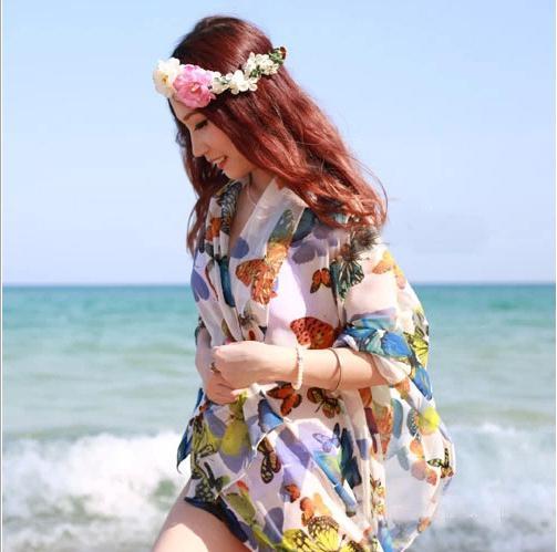 Bikini traje de baño Mariposa Sarong Beach Cover Up vestido de playa mujeres atractivas largo abrigo de la bufanda de buena calidad C1264