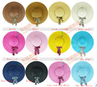 Wholesale Lady Cap Golf - Straw beach hats lady straw hats women's caps fashion wide hats 12 colors available mix colors