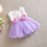 Wholesale Red Beards - 2015 HOT SALE! Baby Girls bow Beards Tulle lace dresses kids girl summer princess TUTU dress babies clothing