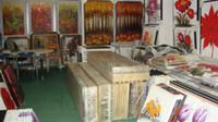 el boyama tuval kalın boya toptan satış-Özel özel! El boyalı yağlı boya modern ev dekorasyonu tuval duvar kaliteli renk paleti kalın yağ bıçak boyama JL1002