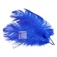 ingrosso piume di struzzo blu royal-SPEDIZIONE GRATUITA all'ingrosso 100 pz / lotto 12-14 pollice (30-35 cm) Royal Blue Ostrich Feather pennacchio per centrotavola di nozze home decor