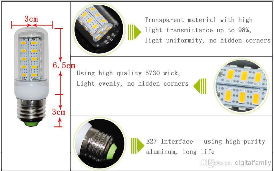 덮개 56를 가진 싼 LED 옥수수 빛 E27 LED 전구 샹들리에 초 7W 12W 15W 18W SMD 5730 5630는 급행에 의하여 E26 GU10 E14 B22 G9 온난 한 백색을지도했습니다