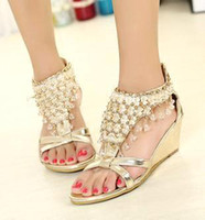 Wholesale Gold T Strap Wedge - Silver Gold Wedding Bride Shoes Bohemian Shiny Beaded Sandals Shoes sexy women low-heeled wedge sandals