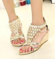 ingrosso sandali bassi sexy-Scarpe da sposa sposa oro argento Sandali con perline lucenti Bohemian Scarpe da donna sexy con zeppa con zeppa e zeppa