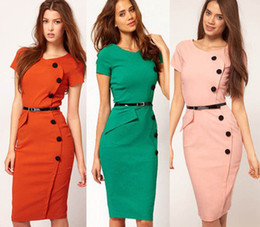 Wholesale Pinup Plus - Free shipping, NEW WOMAN FASHION Formal button Pencil Vintage Pinup Bodycon Fitted Party Shift Sheath Plus size Knee-Length Work Dress