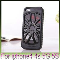 iphone carro 3d venda por atacado-MIAK Legal Race 3D Car Racing Sports Roadster Tyre Hard Case Voltar plástico roda capa de pele Para iPhone5 5G 5S escudo protetor