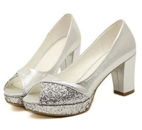 Wholesale Sexy Silver Prom Heels - 2014 glitter silver gold shoes chunky heel peep toe pumps 8cm sexy high heel wedding dress shoes prom gown shoes epacket