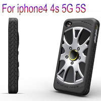 Wholesale Tire Brand Logo - miak Arrival in July Tire Car Case for iPhone4 4S 5 5G 5S Silicon Electroplate Case with 3D Wheel Style Branded Car logo