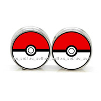 Wholesale Stainless Steel Tunnels 25mm - 6mm-25mm Wholesale body jewelry Pokeball logo stainless steel double flared ear plug gauge flesh tunnel ear expander 60pcs lot SDF0061
