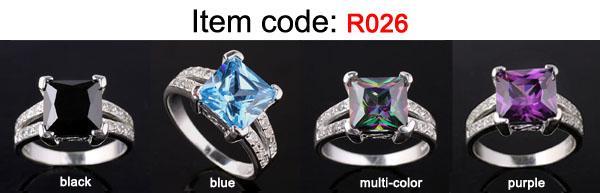 귀여운 9x9mm 스퀘어 스톤 공주는 여성을위한 블루 토파즈 실버 반지를 잘라 선택 쥬얼리 R026을위한 여러 크기의 색상
