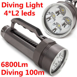 Wholesale Led Underwater Lights Battery - 2015 New Diving Flashlight Underwater 100m 4x CREE XM-L2 LED Torch Light 6800Lm use 2*26650 battery Free Shipping