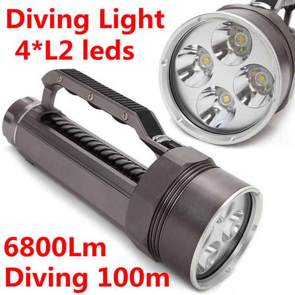 2015 New Diving Flashlight Underwater 100m 4x CREE XM-L2 LED Torch Light 6800Lm use 2*26650 battery Free Shipping