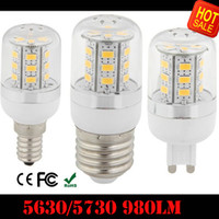 Wholesale E14 Warm Lumen - 10X Warm Pure White GU10 LED Bulbs Corn Bulb 9W 980 Lumen Cree SMD 5730 5630 With Cover 24leds E27 E14 B22 G9 Home Led light New Arrival