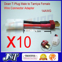 Wholesale T Wire Antenna - F01890-10 10 Sets Deans T plug Male to Tamiya Female 14AWG Wire Connector Adapter + Free Shipping
