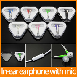 Wholesale Ipad Remote Control - in-ear stero 3.5mm jack earphone with Mic Remote Control handfree colorful for iphone for ipod for ipad 50pcs up