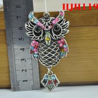 Wholesale Scarf Star Pendants - wholesale - 12PCS LOT, Owl Charm Pendant Hot Sale DIY pendant Necklace Scarf jewelry Findings Zinc Alloy Accessories hjh119