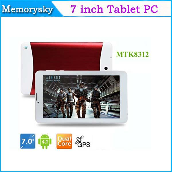 top popular 2015 7 inch Phone Call Tablet PC Dual Core HD Screen MTK8312 1.2GHz 3G WCDMA 2G GSM android 4.4 GPS bluetooth Wifi OTG Dual Camera 002292 2019
