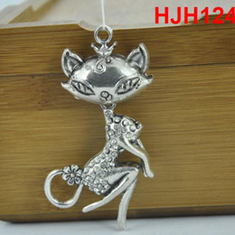 Wholesale Cheap Cat Pendant - Wholesale-stock 12pcs cat Pendant Charms Fashion diy jewelry Scarf Findings Alloy diy necklace accessories cheap HJH124