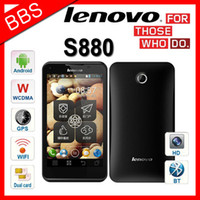 Wholesale Mtk6575 Gps - Original Lenovo S880 Android 4.0 OS 5.0MP Camera 5.0 Inch Screen 3G GPS Dual Camera MTK6575 RUSSIAN HEBREW
