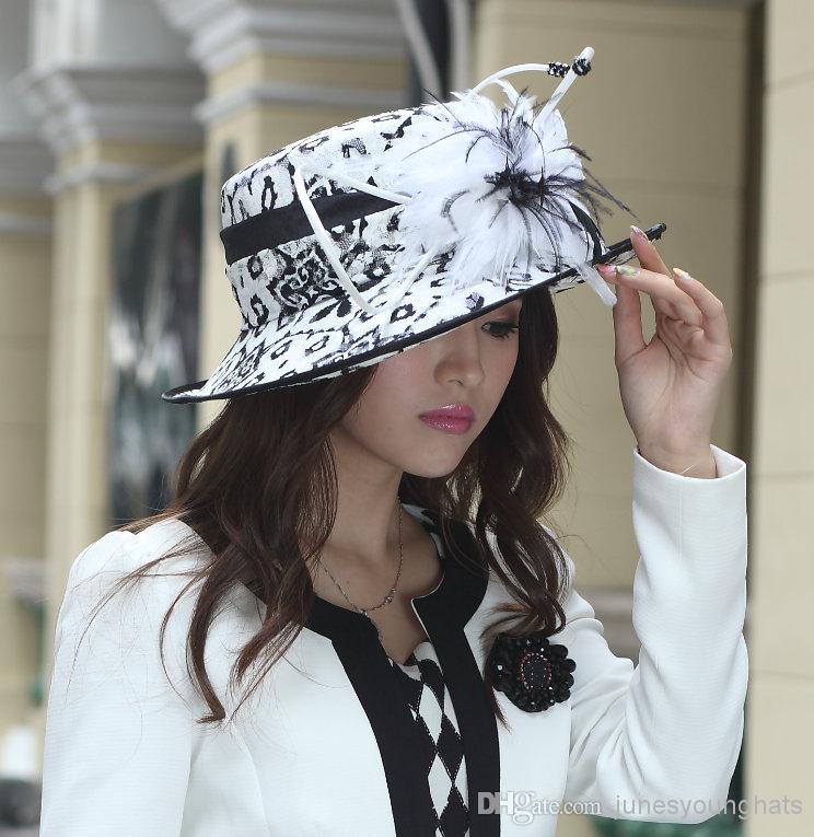 Fashion Church Hat Women Dress Ha Tmillinery Chapeau Ladies  100% Polyester  Feather Elagant New Young Girl Hearwear Newly Designed Kangol Hats Kentucky  ... 3dc13eebf2b2